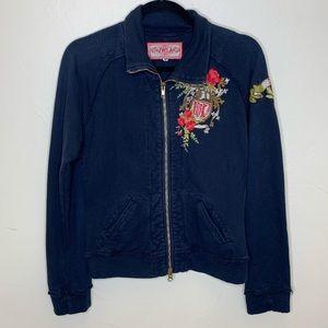 Johnny Was JWLA Embroidered Peace zip sweatshirt M